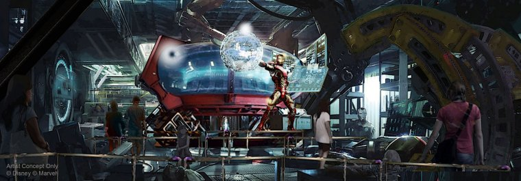 Concept art de l'attraction Iron Man
