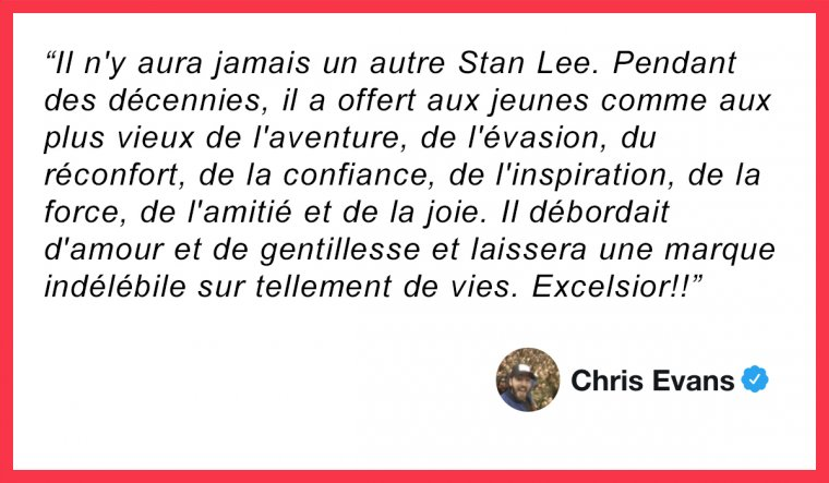 Chris Evans rend hommage à Stan Lee