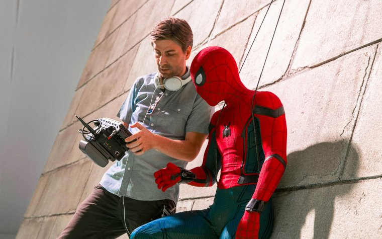 Jon Watts et Tom Holland sur le tournage de Spider-Man : Homecoming